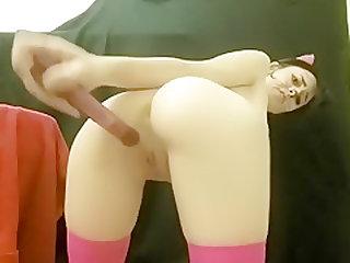 Teen cat-girl masturbates